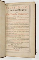 A 1725 printing of Dictionaire Oeconomique or The Family Dictionary.