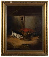 George Armfield (British, 1808-1893), or school of, oil on canvas barn interior scene with terriers