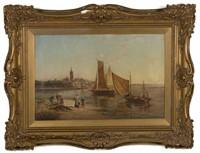Wm. Raymond Dommerson (Dutch, 1850-1927) oil on canvas river scene, identified verso