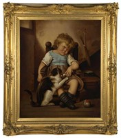 """A. Cable (19th century) oil on canvas genre painting of sleeping child and cat, 34 ½"""" x 29"""" sight, 46"""" x 40"""" OA"""