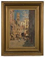 "Carlo Brancaccio (Italian, 1861-1920) oil on panel Naples street scene, 16 ¼"" x 11"" sight, 23 ¼"" x 18"" OA"