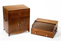 """British and Continental furniture and accessories, including a fine Georgian inlaid satinwood diminutive cabinet and writing desk, the cabinet bearing original label for Nicholas Middleton, London cabinetmaker and retailer working during the first quarter of the 19th century who supplied goods to the King and other members of the royal family, cabinet 12 ¼"""" H"""