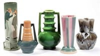 Selection of American art pottery, including Weller, Roseville, and Rookwood