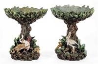 "Rare pair of M. Krause Schweidnitz figural compotes (c. 1900), 14 ¼"" HOA (each)"