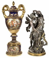 """Mathurin Moreau (French, 1822-1912) bronze (30 ¾"""" HOA) and an impressive Sevres palace urn"""