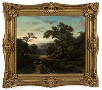 """Jules Andre (French, 1807-1869) oil on canvas landscape, 21"""" x 25"""" sight, 31"""" x 35"""" OA"""