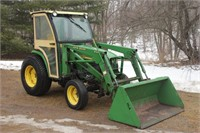 John Deere 4310 (diesel, 31hp, 430 loader, Qwick attach, remote outlets, turf tires, Curtis cab) Image 1 of 5 | SEE VIDEO LINK IN THE LISTING