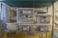 Metal Shelves, Sewing Supplies, etc..