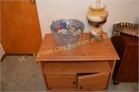 Panasonic Stereo System, TV Stand, Lamp, Bookshelf