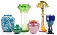 Selection of American and European art glass