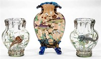 Moser vases with high-relief decoration