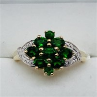Gold Plated Silver Chrome Diopside Ring