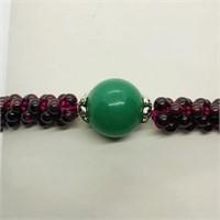 Silver Garnet Strechable Bracelet