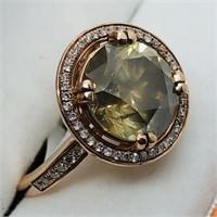 14K Rose Gold Rare Fancy Greenish Yellow Ring