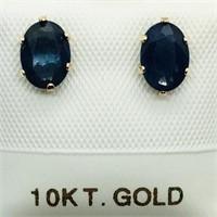10K Yellow Gold Sapphire (1.5ct)  Earrings,