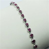 Silver Ruby (1.85ct) Bracelet (~weight 8.7g)