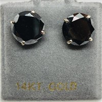 14K White Gold Black Diamond(4ct)  Earrings