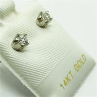 14K White Gold Diamond Earrings, Made in Canada