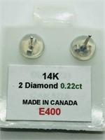 14K White Gold Diamond (0.22ct) Earrings