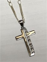 Silver Cubic Zirconia Cross Shaped Pendant