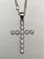 Silver Cubic Zirconia Cross Shaped Pendant.