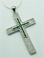 Silver Cubic Zirconia Large Cross Shaped Pendant.