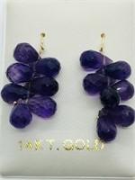 14K Yellow Gold Amethyst (19ct) Earrings