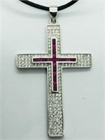 Silver Cubic Zirconia Large Cross Shaped Pendant.