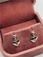 Silver Cubic Zirconia Heart Shaped Earrings
