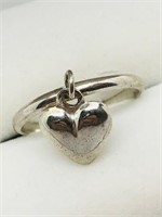 Silver Heart Shaped Ring.