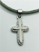 Silver Cubic Zirconia Cross Shaped Pendant