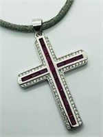 Silver Genuine Gemstone Cubic Zirconia Cross