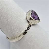 Silver Amethyst Marcasite Ring