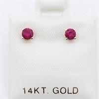 14K Yellow Gold Burma Ruby Studs(0.3ct) Earrings