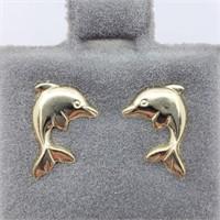 14K Yellow Gold Dolphin Screwback Studs Earrings