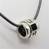 Silver Onyx Bead With Cord Necklace