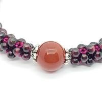Silver Flexible Garnet And Red Agate Bead Bracelet