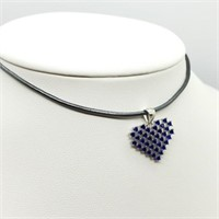 Silver Heart Shaped Cz Pendant With Cord Necklace