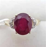 Gold Plated Silver Ruby And Diamond Ring