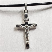 Silver Cross Pendant With Cord Necklace