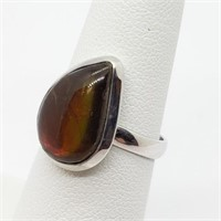 Silver Natural Canadian Ammolite Ring