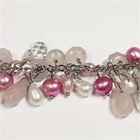 Silver Dyed Pink Pearl 7.5 Inches Bracelet
