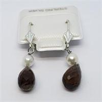 Silver Smokey Quartz (4ct) Earrings