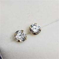 14K Yellow Gold Cubic Zirconia Stud Earrings