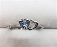 Silver Heart Shaped Gemstone Ring