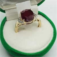 Gold Plated Silver Ruby Diamond Ring