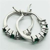 Silver Simulated Emerald Hoop Earrings