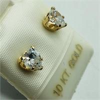 9K Yellow Gold Cubic Zirconia Heart Shaped Earring