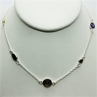 Silver Amethyst Garnet Citrine Necklace
