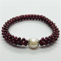 Silver Garnet Pearl Bracelet